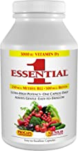 Andrew Lessman Essential-1 Multivitamin 60 Small Capsules 3000 IU Vitamin D3. 250 mcg Methyl B12. Lutein Lycopene Zeaxanthin. 24+ Nutrients. High Potency. No Additives. Ultra-Mild Only One Cap Daily