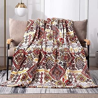 DaDa Bedding Aztec Super Soft Fleece Throw Blanket - Bohemian Cozy Farmhouse Southwestern Havana Ruby Geometric Abstract Warm Fall Decor - Yellow & Red - 50