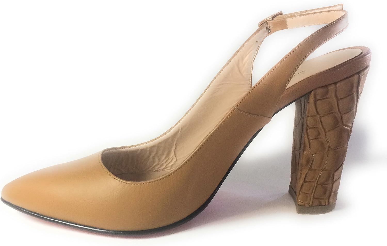 Carlo Valdini Fashion shoes Sling Back Block Heeled shoes Nude Honey