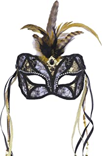 Forum Mardi Gras Costume Masquerade Mask/Lace With Feathers and Ribbon