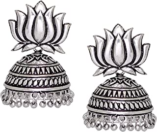 Royal Bling Tribal Muse Collection Oxidized Silver Stylish Indian Jewelry Jhumka Earrings for Women/Girls