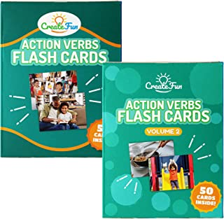 Action Verbs Flash Cards Bundle - 100 Vocabulary Builder Photo Cards - 6 Starter Teaching Activities for Speech Therapy Materials, ESL Teaching Materials, Preschool Prep, Special Education Supplies