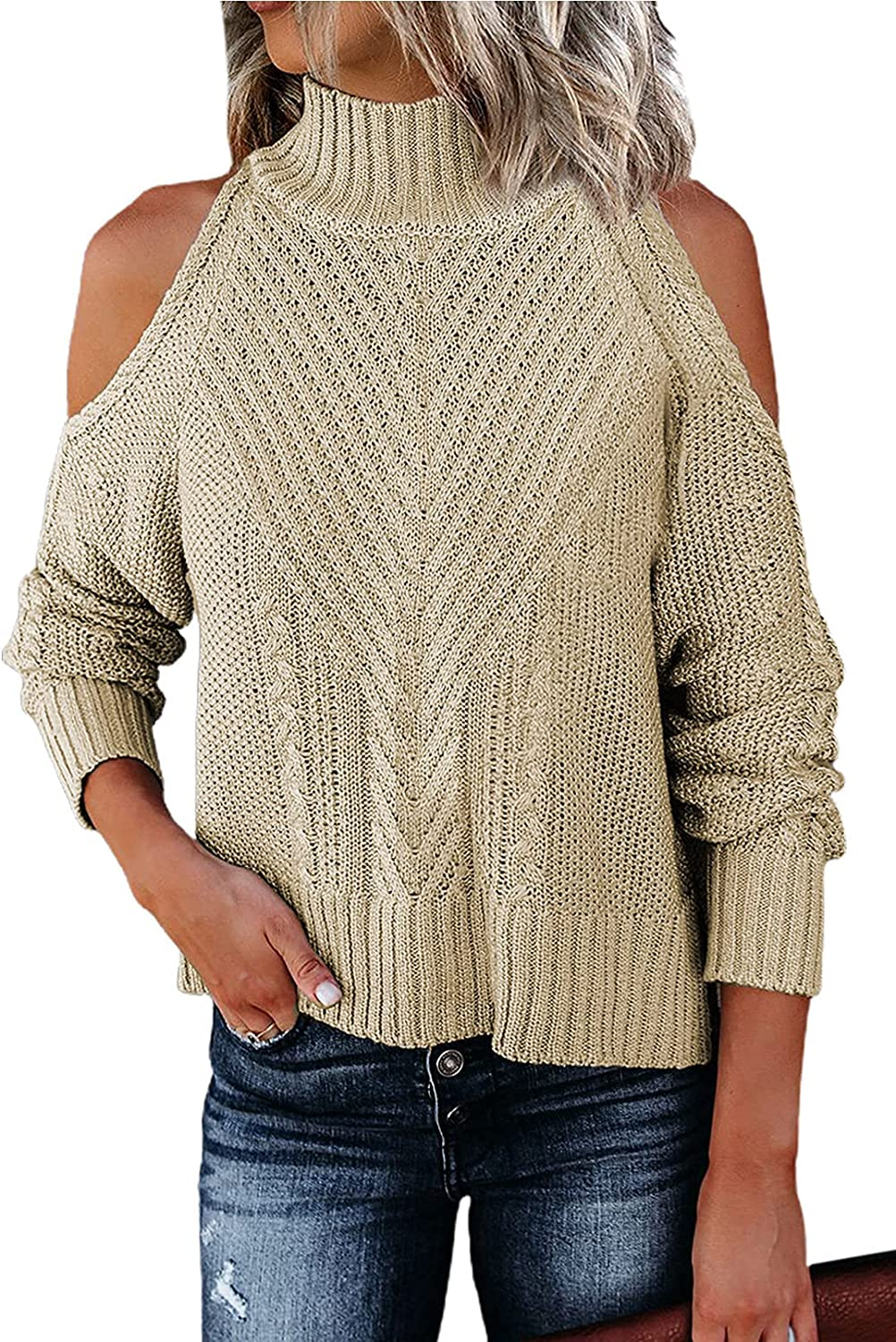 Happy Sailed Womens Cold Large special price Shoulder Neck Discount is also underway Long High Sweaters Sleeve