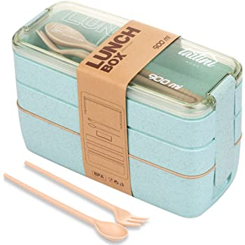 TARLINI HOME Bento Box for Adults - Kids Lunch Box With Divider, 3 Stackable Lunch Boxes, Microwave Safe, BPA Free, Built-in Plastic Silverware Utensils Chopsticks Bento Boxes