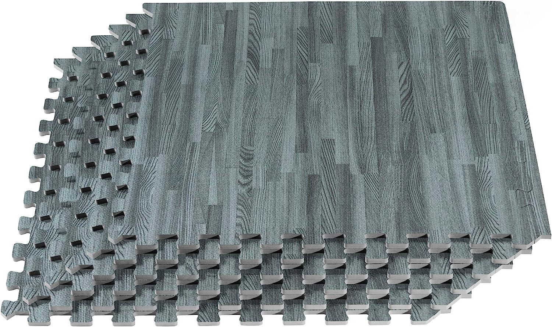 New Forest Floor 3//8 Inch Thick Printed Foam Tiles 24 in x 24 in Anti-Fatigue Flooring Premium Wood Grain Interlocking Foam Floor Mats