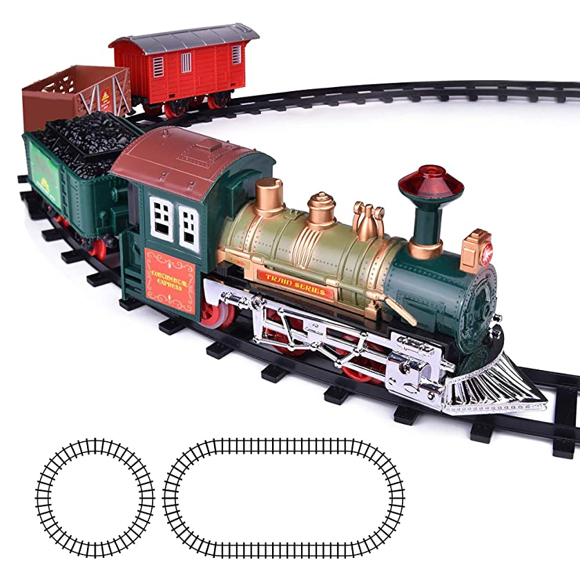 ArtCreativity Deluxe Train Set for Kids | Battery-Operated Toy with 4 Cars and Tracks | Durable Plastic | Cute Christmas Holiday Train for Under The Tree, Great Gift Idea for Boys, Girls, Toddlers