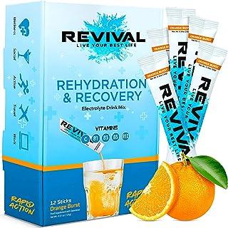Revival Rapid Hydration Electrolyte Powder, Vitamin C, B1, B3, B5, B12 Recovery Drink Packets, Hangover Cure, Sport, Healt...