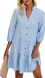 دکمه گاه به گاه گردن تابستانی V و تابستان Theenkoln لباس آستین کوتاه 3/4 گل پیراهن گشاد