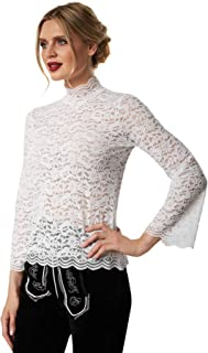 dressforfun dressforfun 900811 Elegante Spitzen Trachtenbluse, Langarm, Trompetenärmel, Blumenmuster, weiß - Diverse Größen - M   Nr. 303191