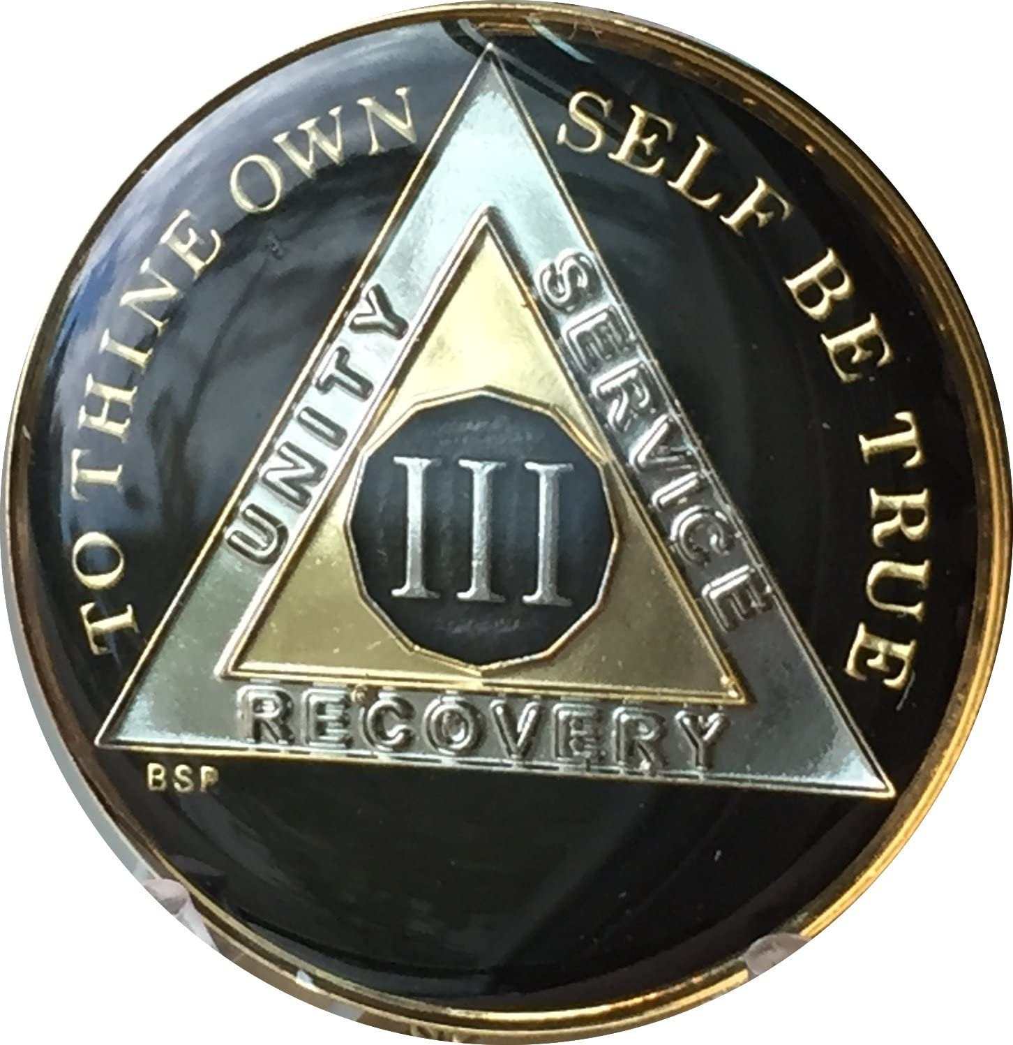 3 Year Classic Black Very popular AA Superior Sobriety Anonymous Alcoholics Medallion
