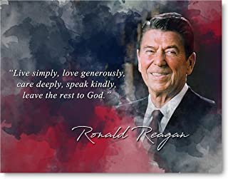 Ramini Brands Ronald Reagan Live Simply Inspirational Quote - 8 x 10 Unframed Print - Wall Art Bedrooms, Offices, Living Rooms, Classrooms
