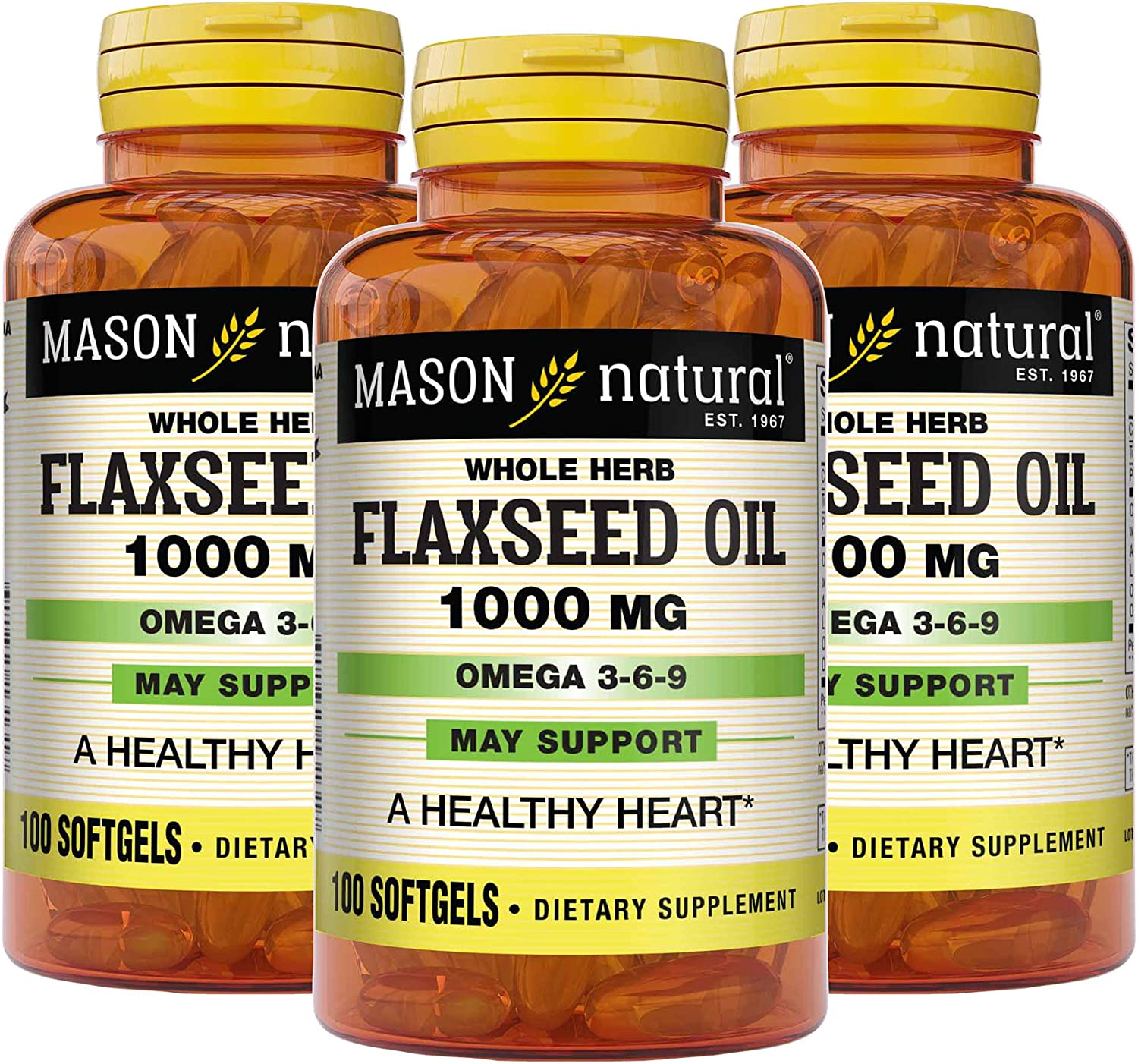 Mason Natural Flax Seed Oil 1000 Omega Soft Mg 3-6-9 Linaza Very popular! Weekly update