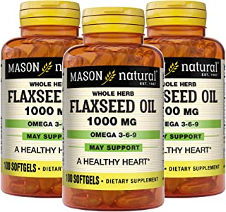 Mason Natural, Flax Seed Oil, 1000 Mg (Omega 3-6-9 Linaza), Softgels, 100 Count Bottle (Pack of 3), Dietary Supplement wit...