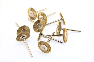 TEMO 10 pc Brass Rotary 3/4 inch (19mm) FLAT Wire Brush Wheel #535 with 1/8 inch (3mm) shank fit Dremel or Compatible Rotary Tools