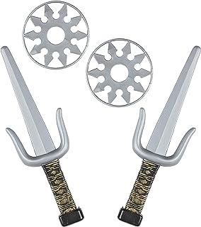 Widmann 01205 Waffenset, 2 Dolche, 2 Shuriken, Ninja, Schwerter, Waffen, Karate, Accessoire, Zubehör, Mo Set d'armes, Mixt...