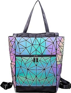 Suuran Geometrische Tasche Geometrischer Rucksack Damen Leuchtender Holographic Rucksäcke Reflektierend Festival Beutel NO.1