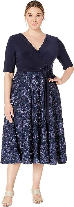 3652e0d704eb0 Plus Size Tea Length Dress with Stretch Jersey Top. Alex Evenings