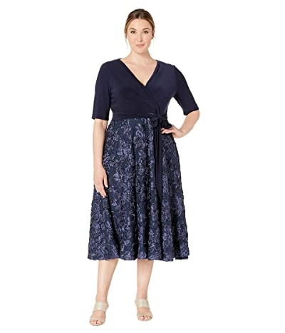 Alex Evenings Plus Size Tea Length Dress with Stretch Jersey Top (Navy) Women