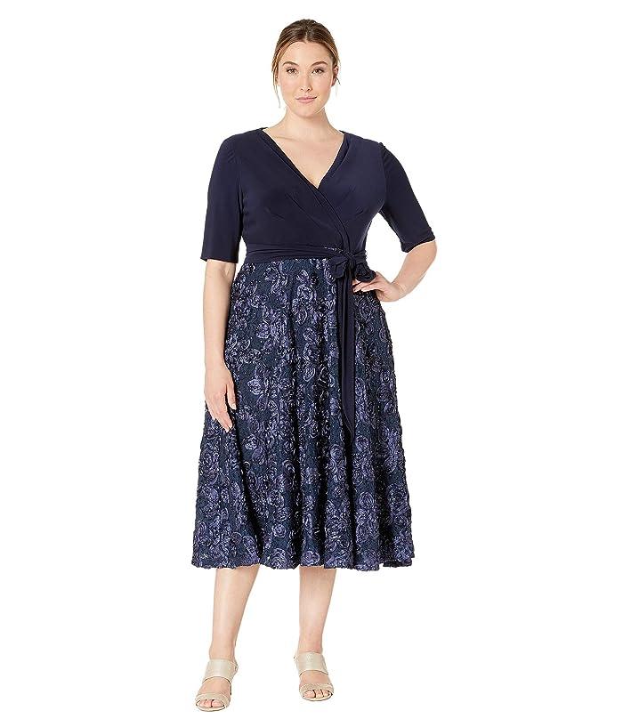 Alex Evenings Plus Size Tea Length Dress with Stretch Jersey ...