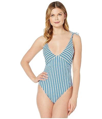 Polo Ralph Lauren Coastal Stripe Off-the-Shoulder Tie Splice Mio One-Piece (Cobalt) Women