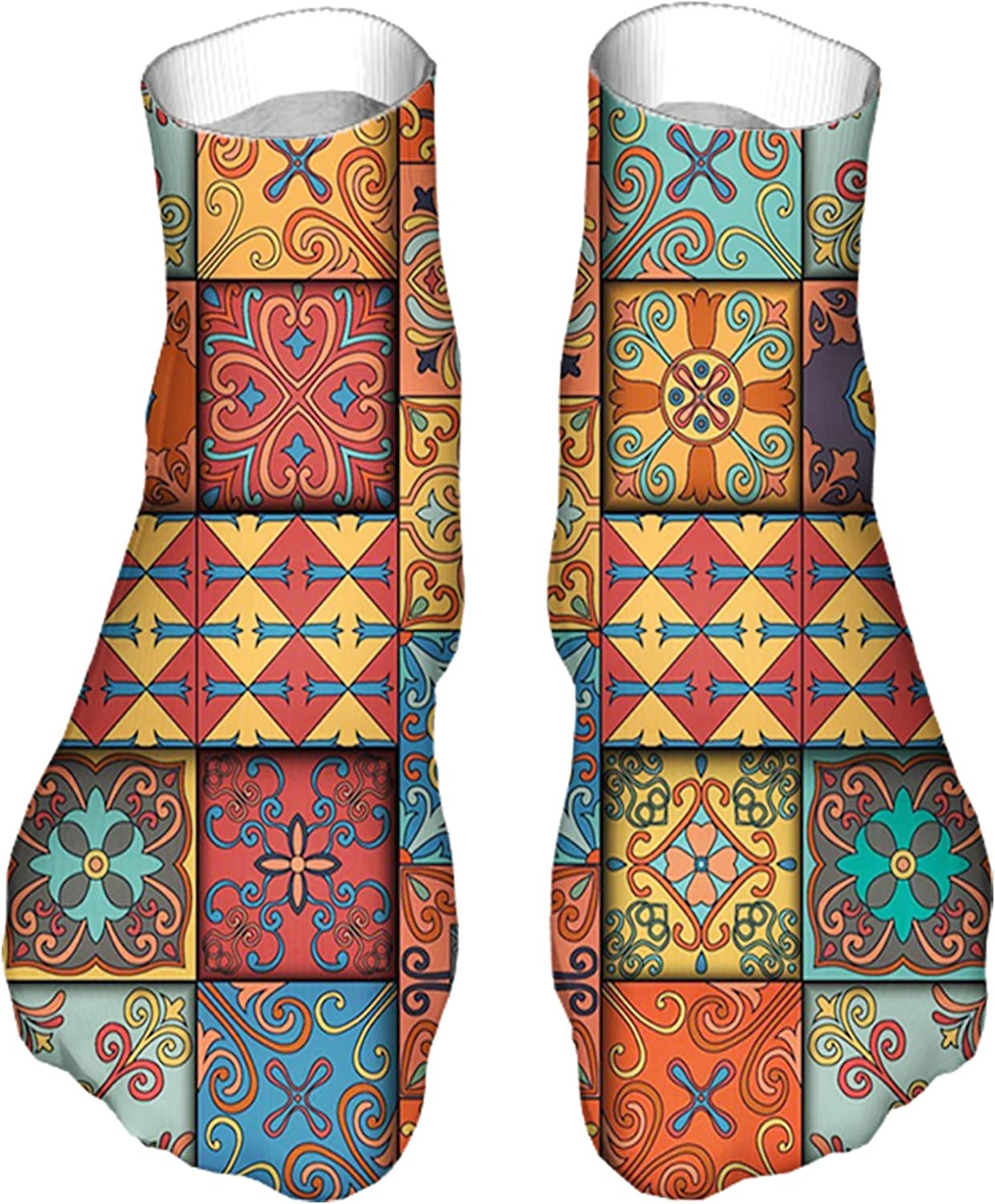 Women's Colorful Patterned Unisex Low Cut/No Show Socks,Colorful Dimensional Look Tile Squares Illustration in Ethn