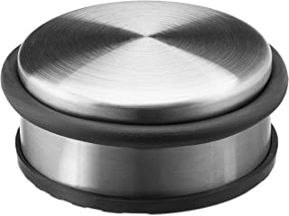 Relaxdays Small Stainless Steel Door Stop with Rubber Band, Metal, Silver, 10 x 4.5 cm