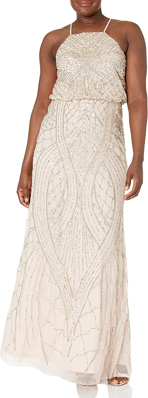 Adrianna Papell Women's Halter Fully Beaded Blouson Gown