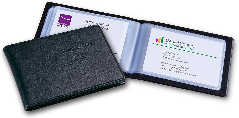 Sigel VZ170 Card Holder, leather-look, black, matt, with 20 clear plastic pockets