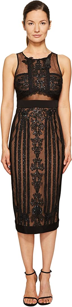 Marchesa Notte Sleeveless Embroidered Cocktail w/ Stretch Crepe Panel Combo