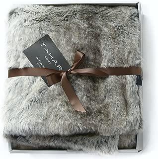 Tahari Mink Faux Fur Throw Luxury Silky Soft Blanket in Cream White (Tan Coyote)