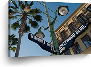SmileArtDesign Los Angeles Wall Art Hollywood and Sunset Boulevard Signs Canvas Print California Home Decor Artwork Gallery Wrapped Wood Stretched and Ready to Hang -%100 Handmade in The USA - 8x12