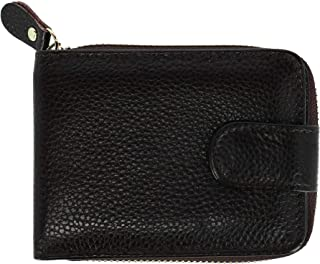 CTM Leather Zip-Around Card Case Wallet with ID Windows