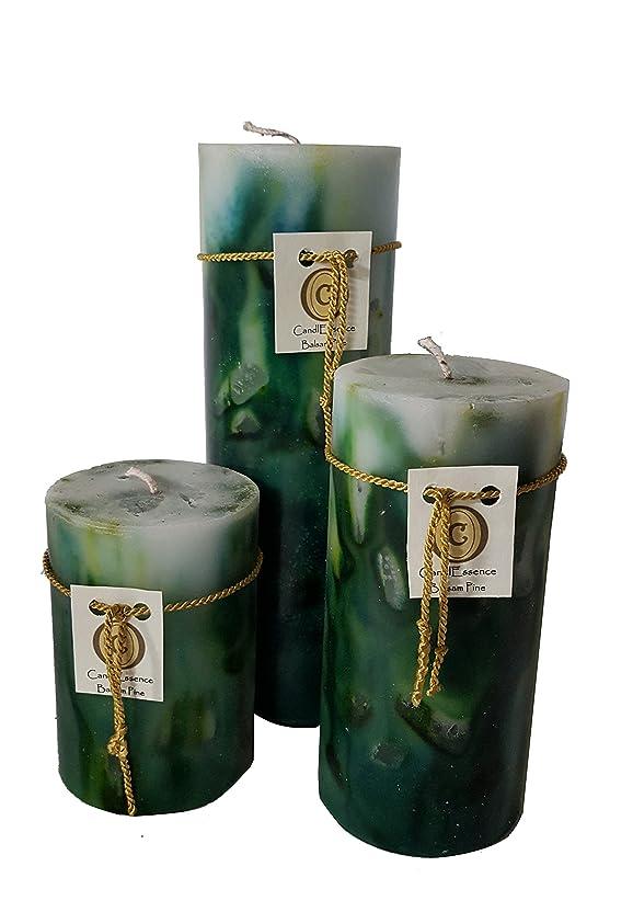 風変わりなホバー誘導ハンドメイドScented Candle?–?Long Burningピラー?–?Balsam Pine香り Set of 3 B01MYMQ92Y