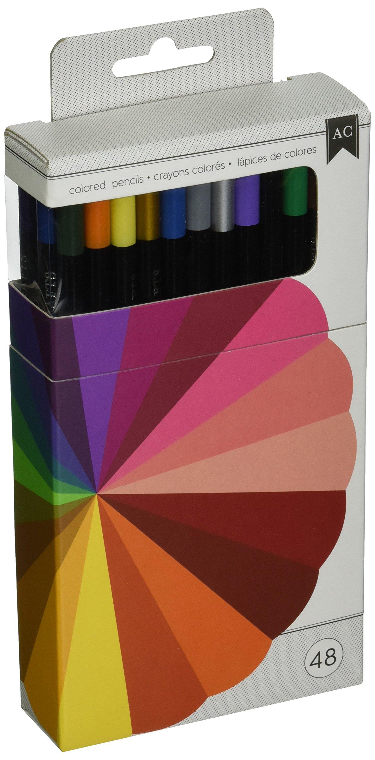 American Crafts Caja de 48 lápices de Colores: Amazon.es: Hogar