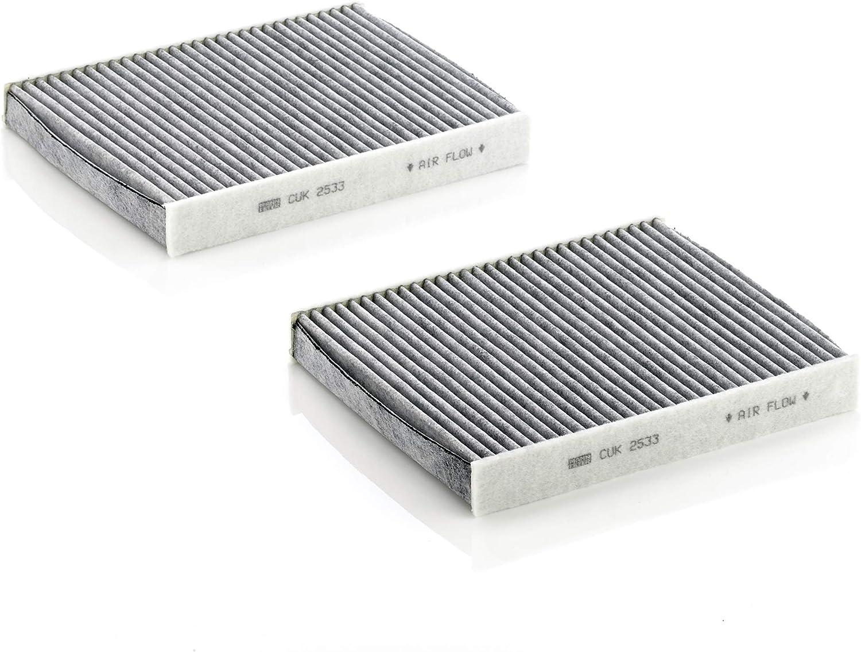 MANN-FILTER CUK 2533-2 Cabin Air Filter, Cabin air filter set (Set of 2) for Cars