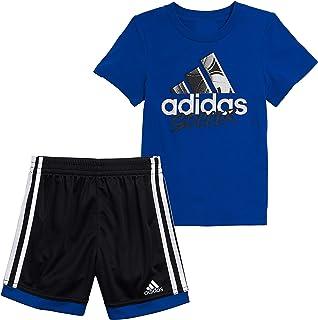 adidas Boys Sleeve Cotton Tee & Sports Shorts Clothing Set