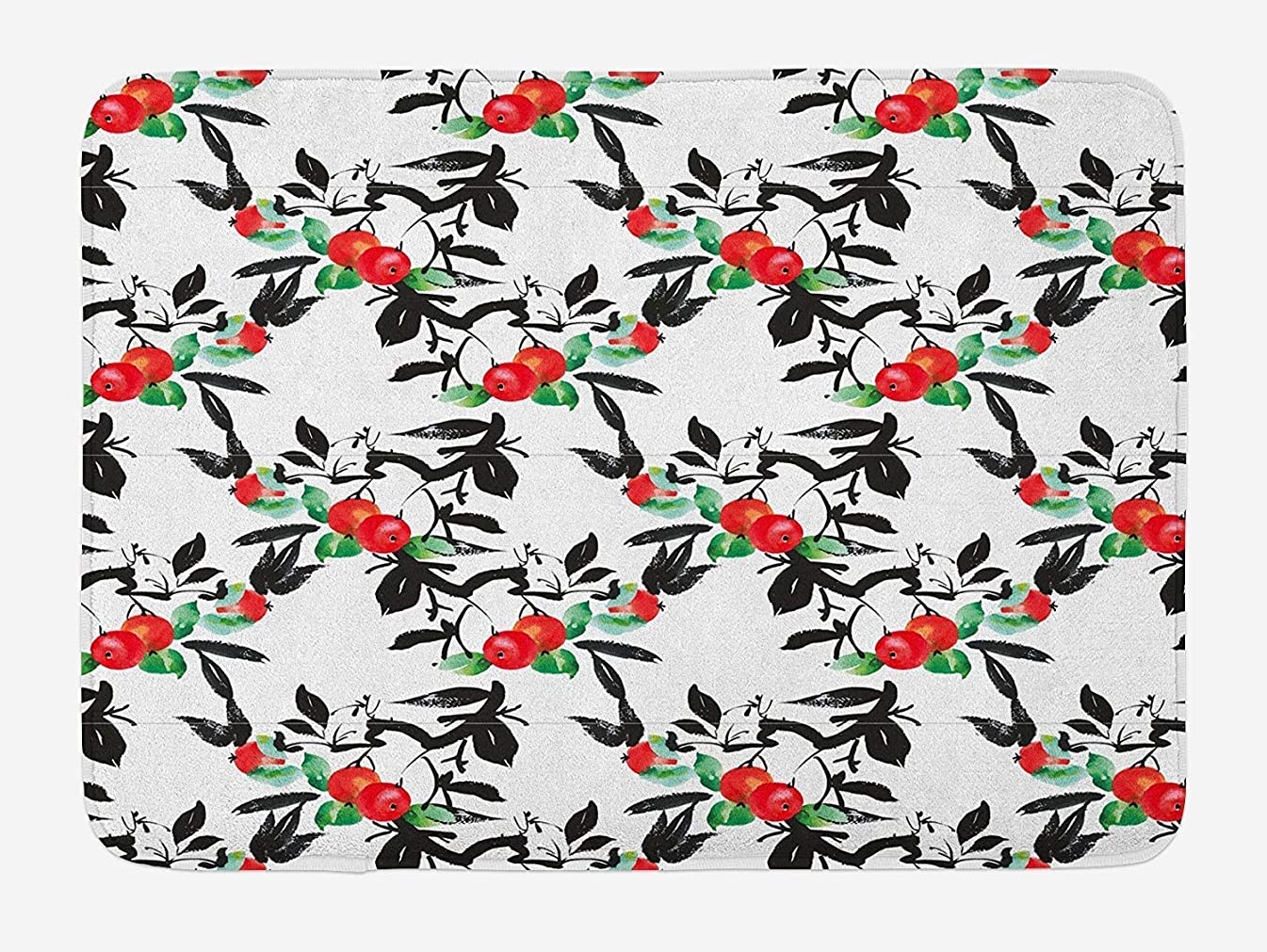 Kaickdfv Rowan Bath Mat, Vivid Mountain Berries with Watercolor Doodle Shrubs Abstract Modern, Plush Bathroom Decor Mat with Non Slip Backing, 23.6 W X 15.7 W Inches, Dark Coral Green Black