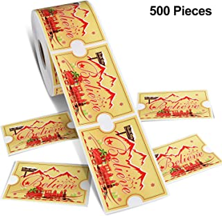 500 Pieces Christmas Train Stickers Golden Label Train Pattern Stickers Self Adhesive Stamp Stickers for Kids Carnival Christmas Party Supplies