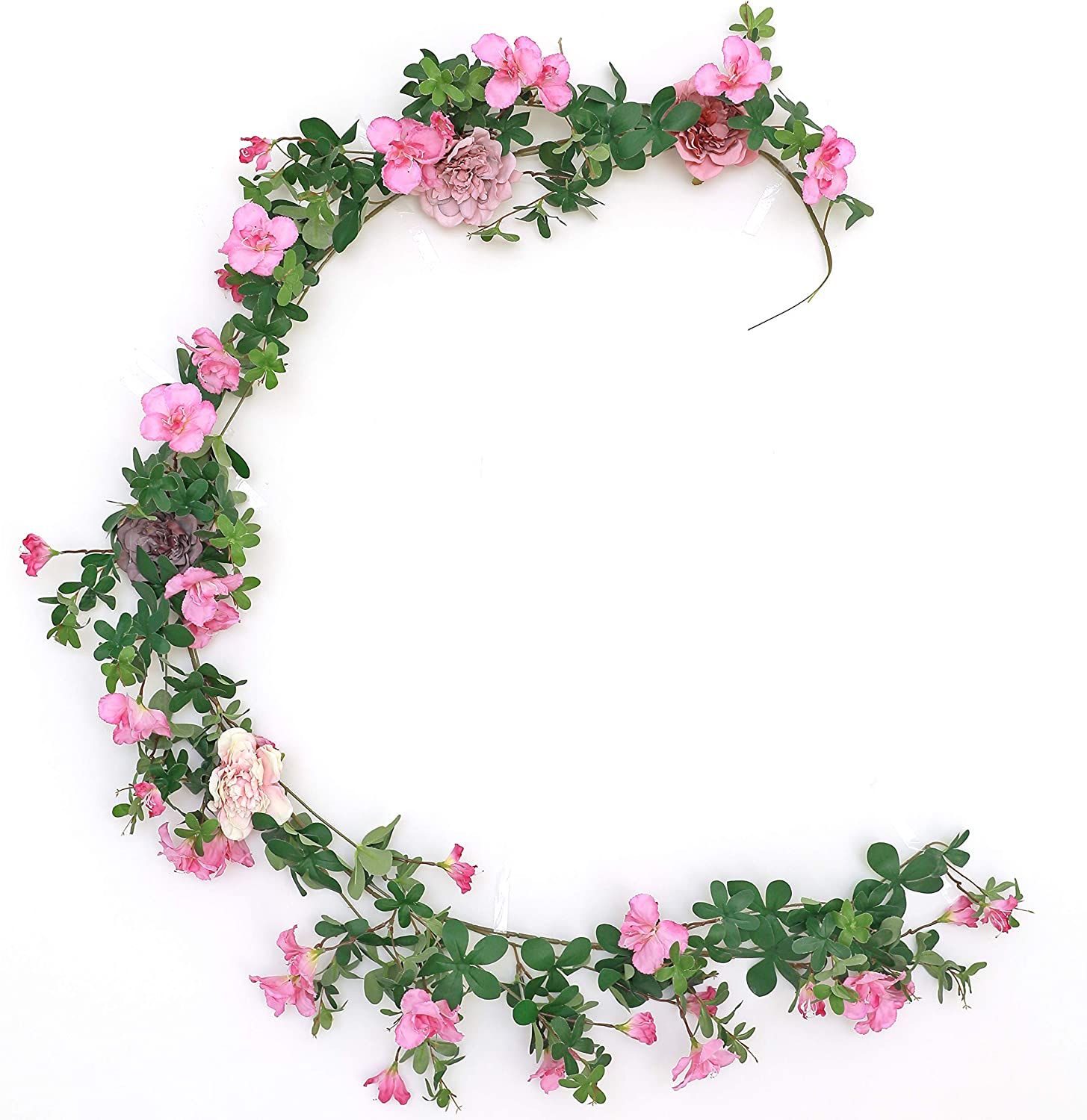 WAKISAKI Fake Vines Artificial Flowers Cherry Blossom & Ivy Hanging Plants Greenery Garland, for Cute Kawaii Room Decor Japanese Flower Wall, Wedding Decorations Ceremony Arch (Noble Lilac)