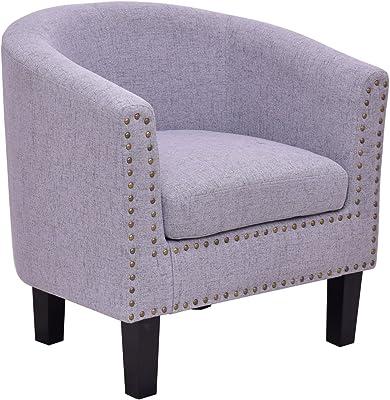 Giantex Modern Tub Barrel Club Seat Arm Chair Accent Fabric Nailhead w/Cushion (Gray