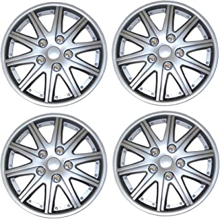 TuningPros WSC3-027S15 4pcs Set Snap-On Type (Pop-On) 15-Inches Metallic Silver Hubcaps Wheel Cover