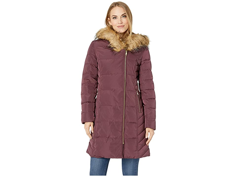 Cole Haan Taffeta Down Coat with Faux Fur Hood (Merlot) Women