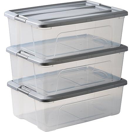 Amazon Basics 103433 Lot de 3 boîtes de Rangement empilables-New Top Box NTB-30, Plastique, Transparent/Gris, 30 L