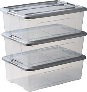 Amazon Basics 103433 Lot de 3 boîtes de rangement empilables - New Top Box NTB-30, Plastique, Transparent/Gris, 30 L