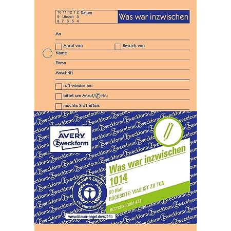 Avery Zweckform 1018 Gesprächsnotiz A5 Abreißblock Oben Verleimt 50 Blatt Gelb Bürobedarf Schreibwaren