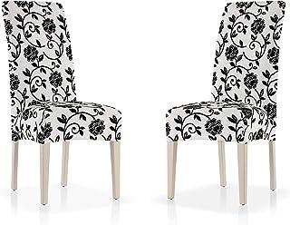 Pack Dos Fundas sillas elásticas para sillas de Comedor y salón con Respaldo en Tejido Adaptable con diseño de Flores Color Blanco y Negro