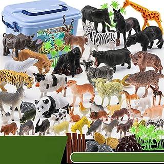 Mumoo Bear Animals Figure, 58 Piece Mini Jungle Animals Toys Set, Realistic Wild Animal Learning Party Favors Toys