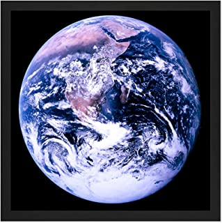 Space NASA Earth Apollo 17 Blue Marble Photograph Square Wooden Framed Wall Art Print Picture 16X16 Inch