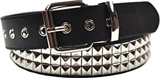 3 Row Pyramid Studded Stud Black Belt