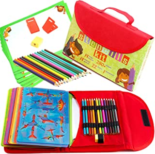 Drawing Stencils for Kids Kit & Carry Case – Child-Safe with 54 Pieces, Stencil Set with 280+ Shapes, Colored Pencils, Paper, Etc.– Travel Art Supplies for Creativity, Learning & Fun, Ideal Kids Gift